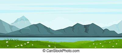 verão, lago, paisagem, montanhas