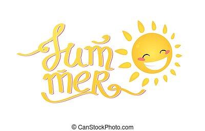 verão, lettering., caricatura, sol