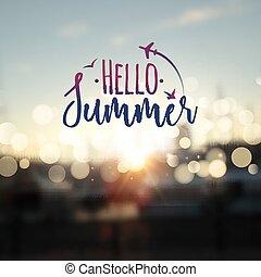 verão, lettering, tipografia, obscurecido, luzes, bokeh, pôr do sol, olá