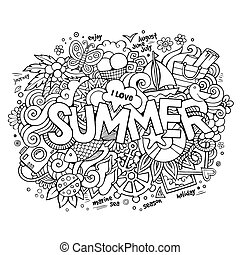verão, mão, lettering, e, doodles, elementos
