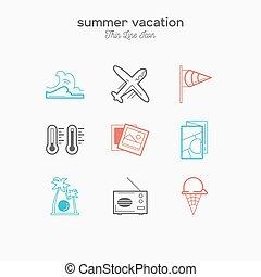verão, magra, ícones, cor, férias, tropicais, ilustração, jogo, vetorial, turismo, linha, recreação