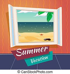 verão, mar, abertos, férias, ilustração, janela, vetorial, retro, fundo, feriado, praia, caricatura