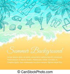 verão, mar, experiência.
