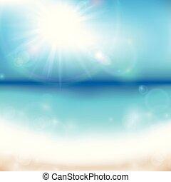 verão, mar, fundo, amanhecer