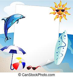 verão, mar, fundo