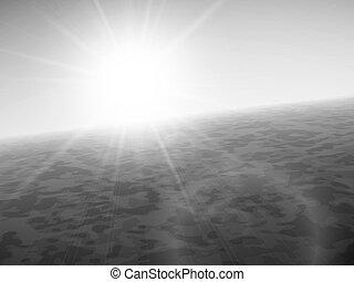 verão, mar, pôr do sol, horizonte, sol