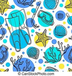verão, mar, seamless, pattern.