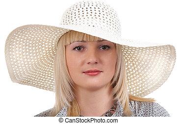 verão, menina, chapéu