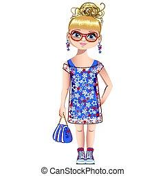 verão, menina, moda