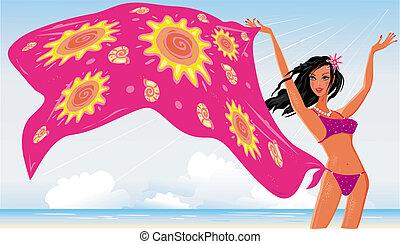 verão, menina, praia