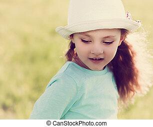 verão, moda,  CÙte, verde, longo,  closeup, fundo, cabelo, Retrato, menina, chapéu, criança