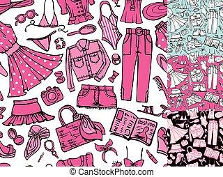 verão, moda, seamless, pattern.woman, colorido, desgaste