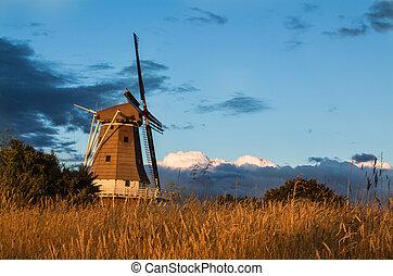 verão, moinho de vento