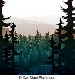 verão, montanha, natureza, lake., floresta, paisagem