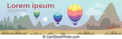 verão, montanha, voando, céu, ar, madeiras, floresta, balões, paisagem