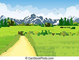 verão, montanhas., prados, paisagem