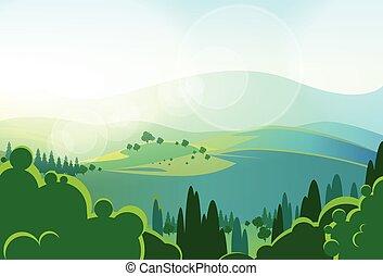 verão, montanhas verdes, árvore, vale, landcape, vetorial