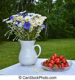 verão, morangos, flores