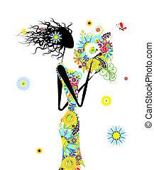 verão, mulher, buquet, desenho, floral, seu