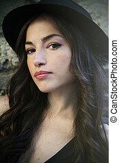 verão, mulher, cidade, jovem, retrato, chapéu, dia