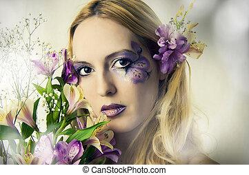 verão, mulher, flores, jovem