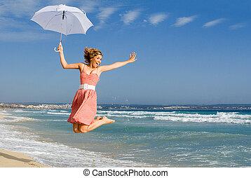 verão, mulher, jovem, pular
