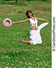 verão, mulher, pular, feliz