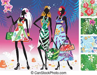 verão, mulheres, vestidos, padrões