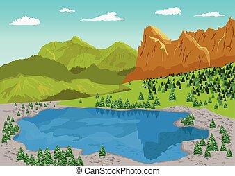 verão, natural, lago, paisagem, montanha
