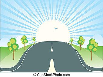verão, natureza, ensolarado, paisagem, horizonte, road.vector