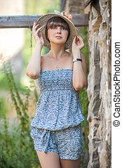 verão, natureza, retrato, menina, chapéu, dia