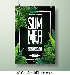 verão, natureza, voador, tipográfico, ilustração, vetorial, desenho, fundo, partido, praia