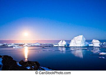 verão, noite, antártica