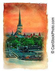 verão, noite, estonia., effect., vindima, tallinn, panorâmico, quadro, vista