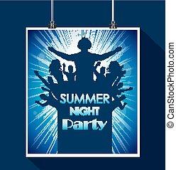 verão, noturna, partido
