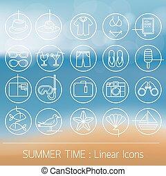 verão, objetos, jogo, linear, ícones