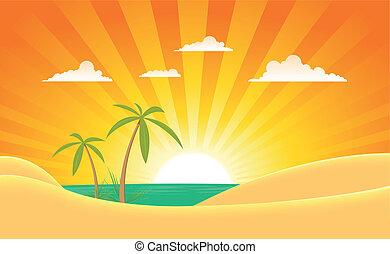 verão, oceânicos, paisagem, bandeira