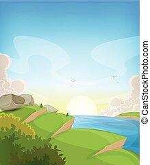 verão, oceânicos, paisagem