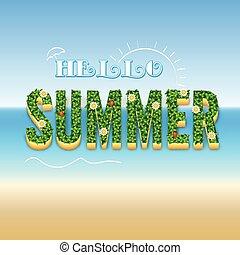 verão, olá, cartaz