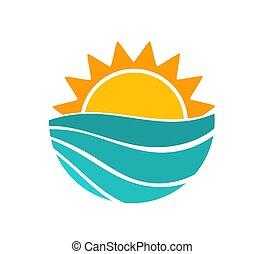 verão, onda, sol, símbolo., mar, pôr do sol