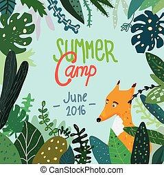verão, painél publicitário, acampamento, floresta, bandeira...