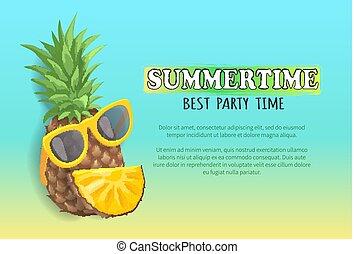 verão, painél publicitário, bandeira, amostra, vetorial, partido, praia