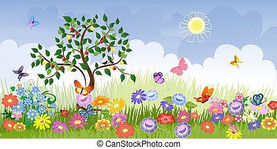 verão, paisagem, com, árvores fruta