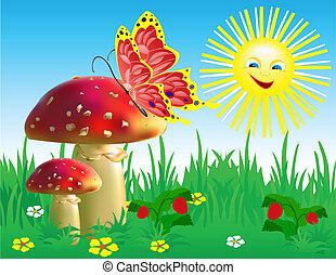 verão, paisagem, com, cogumelos, e
