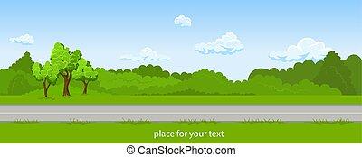 verão, paisagem, estrada