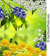 verão, paisagem., floral, experiência.