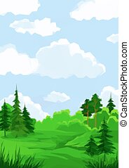 verão, paisagem, floresta