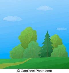 verão, paisagem, floresta, poly, baixo