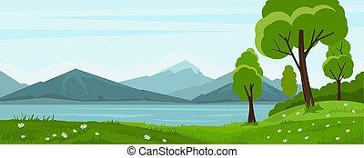 verão, paisagem, lago, árvores, montanha