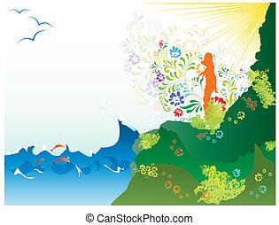 verão, paisagem, mar